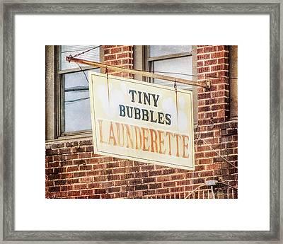 Tiny Bubbles Launderette, Old Fashioned Signage Framed Print by Melissa Bittinger