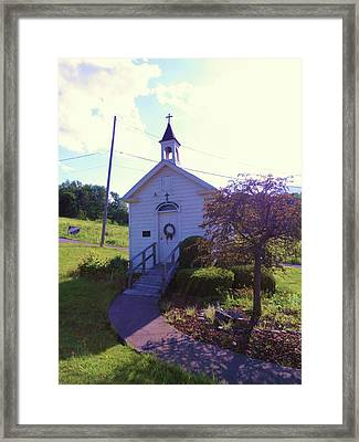 Tiny Church In The Valley Framed Print