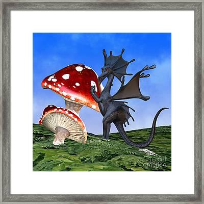 Tiny Fury Dragon Framed Print by Corey Ford