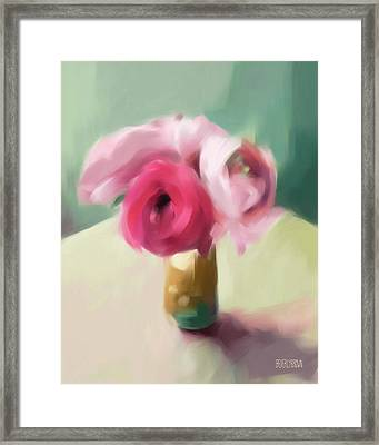 Tiny Pink Ranunculus Floral Art Framed Print by Beverly Brown