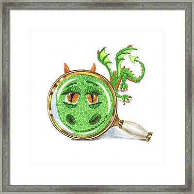 Framed Print featuring the painting Tiny Teeny Little Dragon by Irina Sztukowski