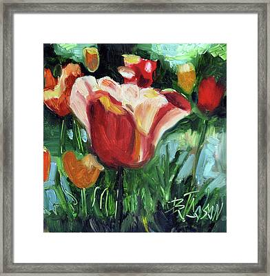 Framed Print featuring the painting Tip Toe Thru The Tulips by Billie Colson