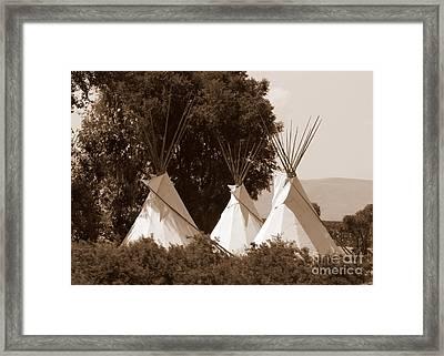 Tipis In Toppenish Framed Print by Carol Groenen