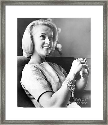 Tippi Hedren In Alfred Hitchcock's 'the Birds. 1963 Framed Print by Anthony Calvacca