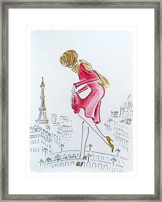 Tiptoeing Through Paris Framed Print by Barbara Chase