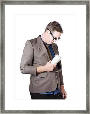 Tired Man Falling Asleep On The Job Framed Print by Jorgo Photography - Wall Art Gallery