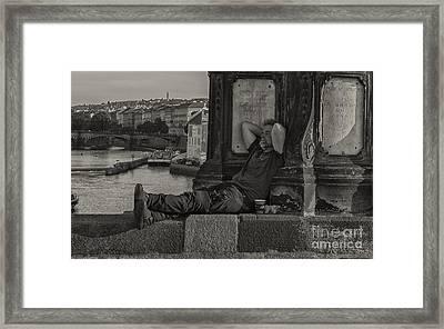 Tired Prague Tourist Framed Print