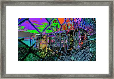 Tires And Broke Behind The Fence Framed Print
