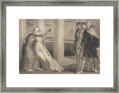 Tiriel Supporting The Dying Myratana And Cursing His Sons Framed Print by William Blake