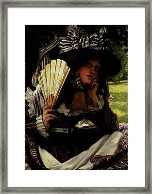 Tissot James Jacques Joseph Jeune Femme A L Eventail Framed Print
