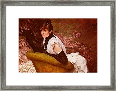 Tissot James Jaques Joseph Portrait De Femme A L Eventail Framed Print