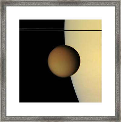 Titan From Cassini Framed Print by Photo Researchers