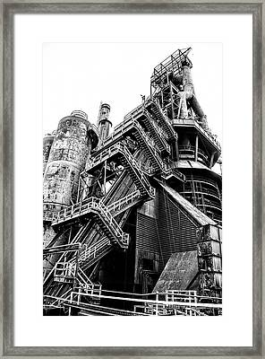 Titan Of Industry - Bethlehem Steel Mill In Black And White Framed Print by Bill Cannon