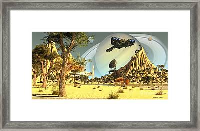 Titan Spaceport Framed Print