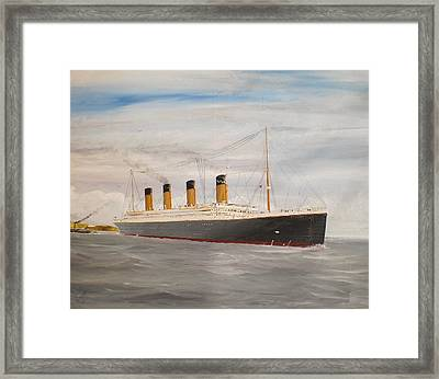 Titanic Departing Queenstown Framed Print by James McGuinness