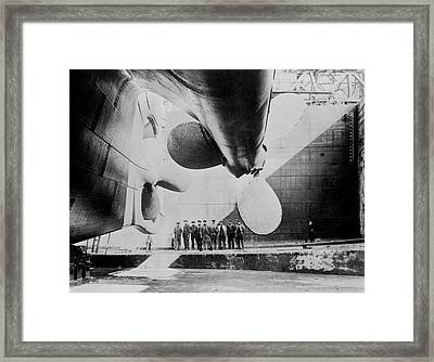 Titanic In Dry Dock - May 31, 1911 Framed Print by War Is Hell Store