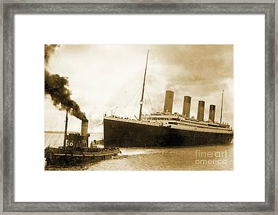 Titanic Leaving Port On It's Maiden Voyage, Circa 1912 Framed Print by English School
