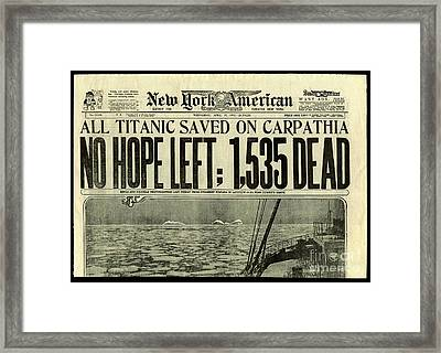 Titanic Newspaper  Framed Print by Jon Neidert