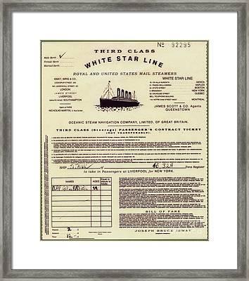 Titanic Passenger Ticket Framed Print