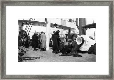 Titanic, Survivors Aboard Rescue Ship Framed Print by Everett