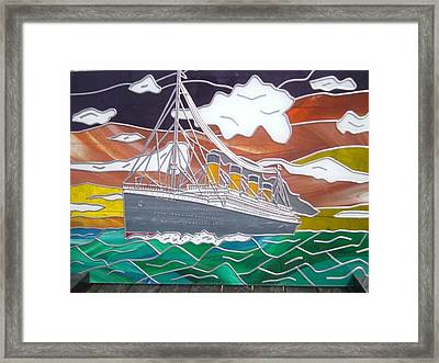 Titanics Last Sunset In Beautiful Stained Glass. Framed Print by Robin Jeffcoate