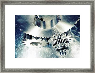 Titanium Aerospace Cogs And Gears Framed Print by Christian Lagereek