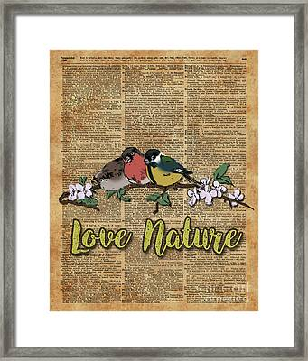 Tit,bullfinch And Sparrow On Branch Over Old Book Page  Framed Print