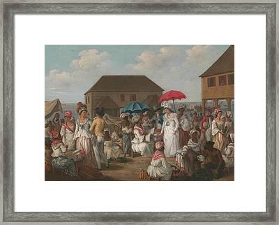 Title Linen Market Framed Print