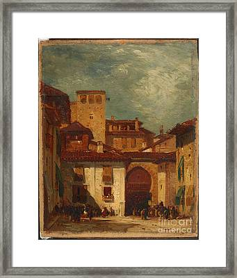 Title Moroccan Courtyard Framed Print by MotionAge Designs