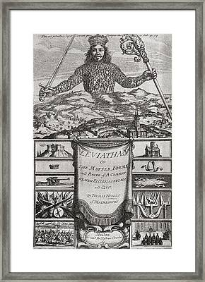 Title Page To Leviathan Or The Matter Framed Print by Vintage Design Pics