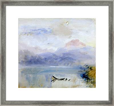 Title Sunset Mountain And Lak Framed Print