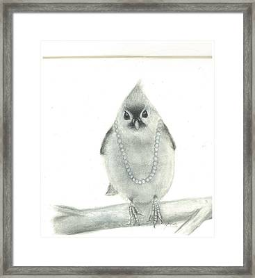 Titmouse With Pearls Framed Print by Danielle McCoy