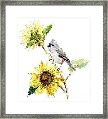 Titmouse With Sunflower Framed Print