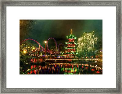 Tivoli Gardens In Copenhagen By Night  Framed Print by Carol Japp