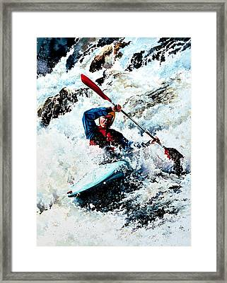 To Conquer White Water Framed Print by Hanne Lore Koehler