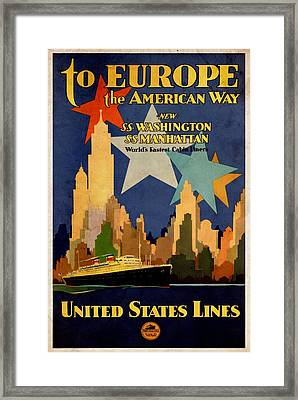 To Europe The American Way - Vintagelized Framed Print
