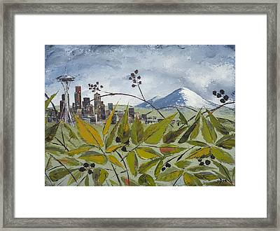 To Get To The City You Must Go Thru The Blackberries Framed Print by Carolyn Doe