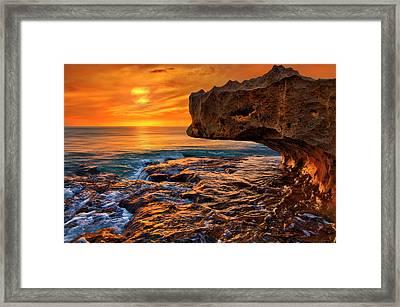 To God Be The Glory - Sunrise Over Ocean Reef Park On Singer Island Florida Framed Print