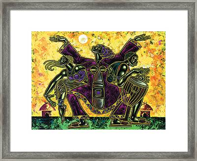 To The Beat Of The Drum Framed Print by Larry Poncho Brown