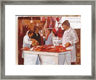 To The Butchers Framed Print by George Siaba