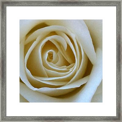 Framed Print featuring the photograph To The Heart Of The Rose by Julian Perry