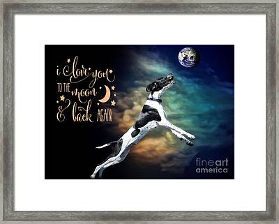 Framed Print featuring the digital art To The Moon by Kathy Tarochione