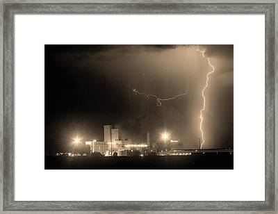 To The Right Budweiser Lightning Strike Sepia  Framed Print by James BO  Insogna