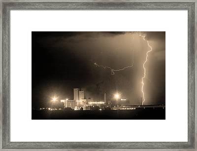 To The Right Budweiser Lightning Strike Sepia  Framed Print