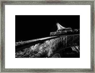 Bottom Up View Of Eiffel Tower In Black And White Framed Print by Blaz Gvajc