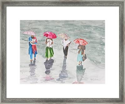 To Work In The Rain Framed Print