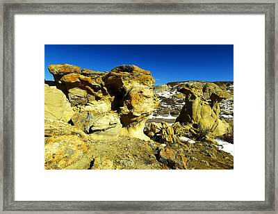 Toad Stools In The Bisti Badlands Framed Print by Jeff Swan