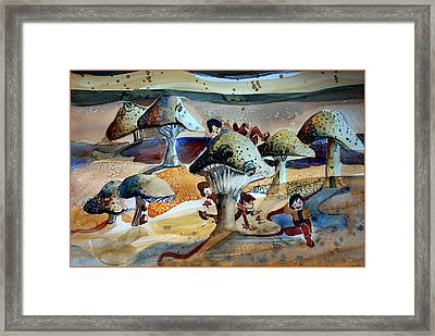 Toadstool Village Framed Print