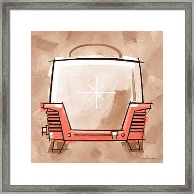 Toaster Coral And Tan Framed Print by Larry Hunter