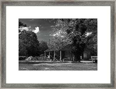 Tobacco Barn - B-w Framed Print by Christopher Holmes